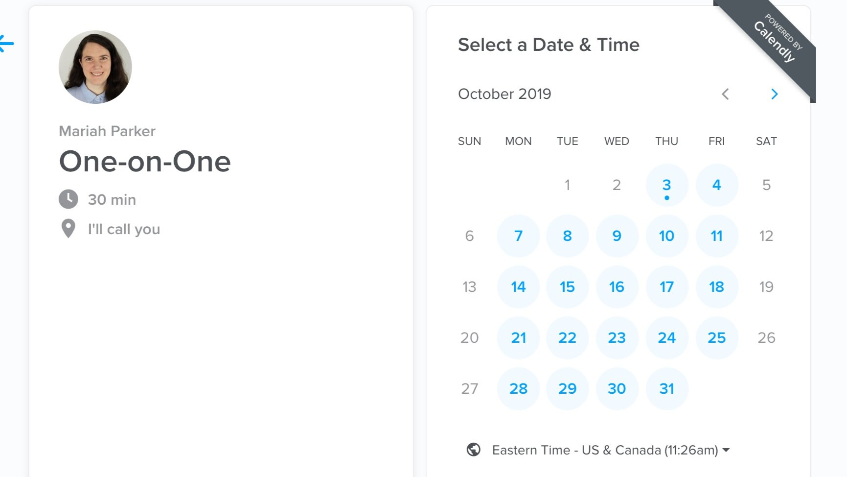 Calendly meeting booking page.