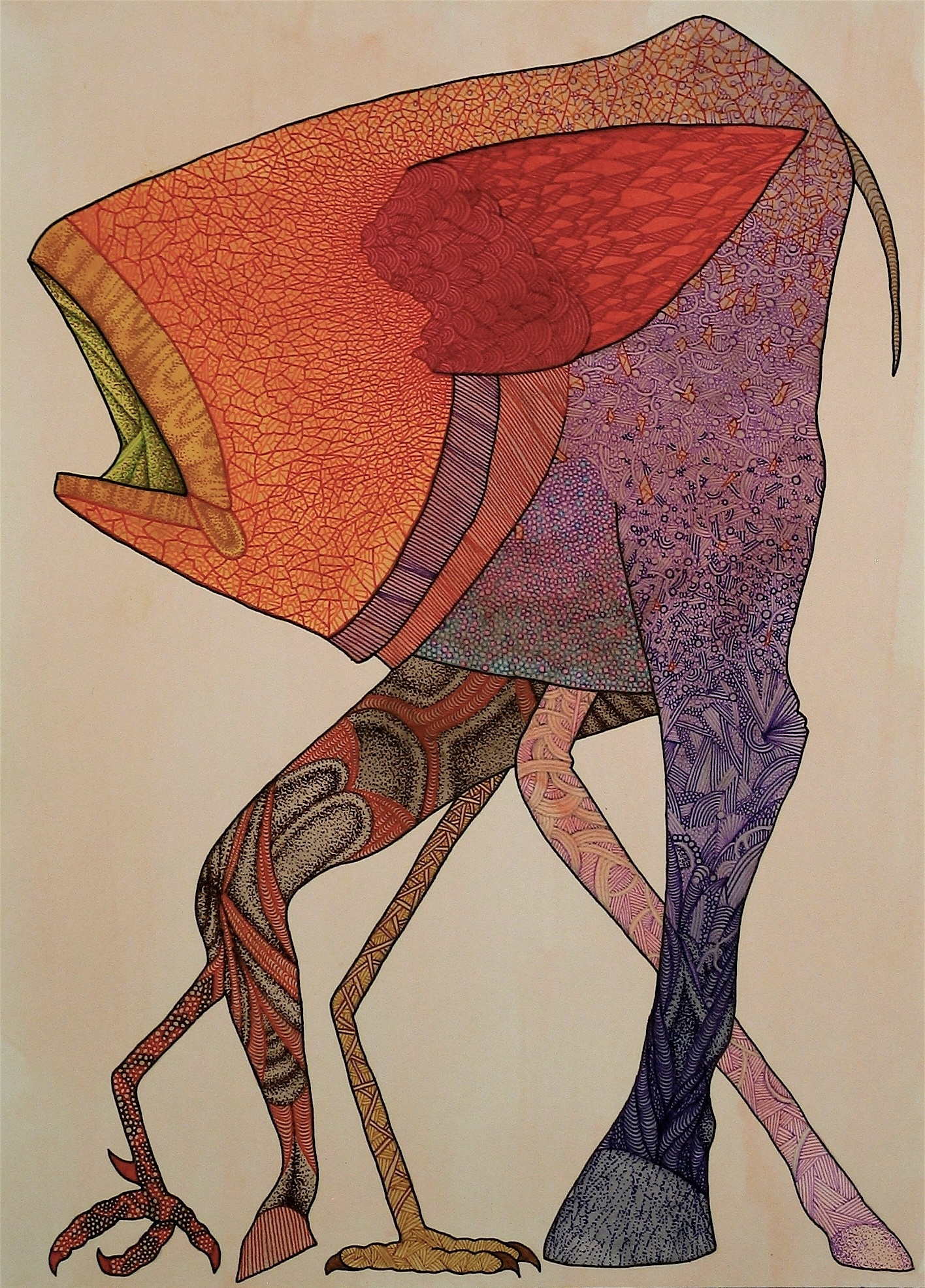 """Artificial Selection 5. Watercolor and Pen on Paper 10""""X14"""" 2013"""
