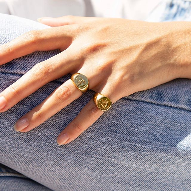 Sunday best 💫 Gold vermeil moon and cherub signet rings 😇🌝 Tap to view 💕