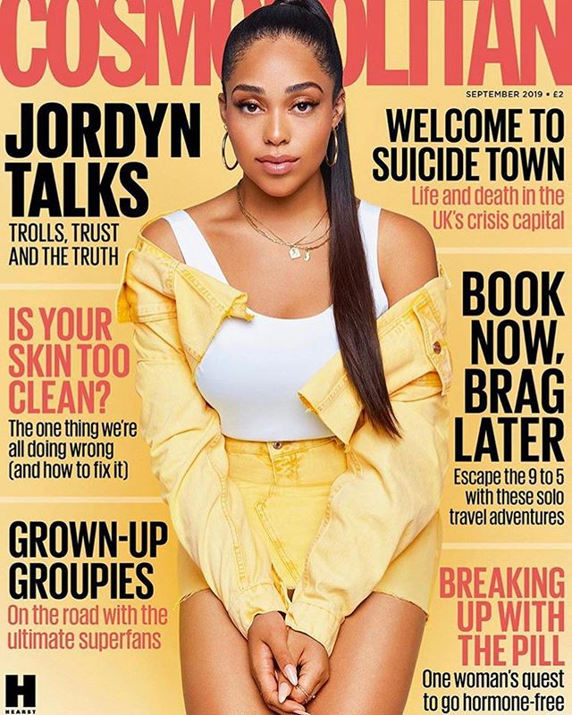 @jordynwoods on the front cover of this months @cosmopolitanuk 🔥🔥🔥 Wearing our chains and alphabet charm in the letter 'J' 💖