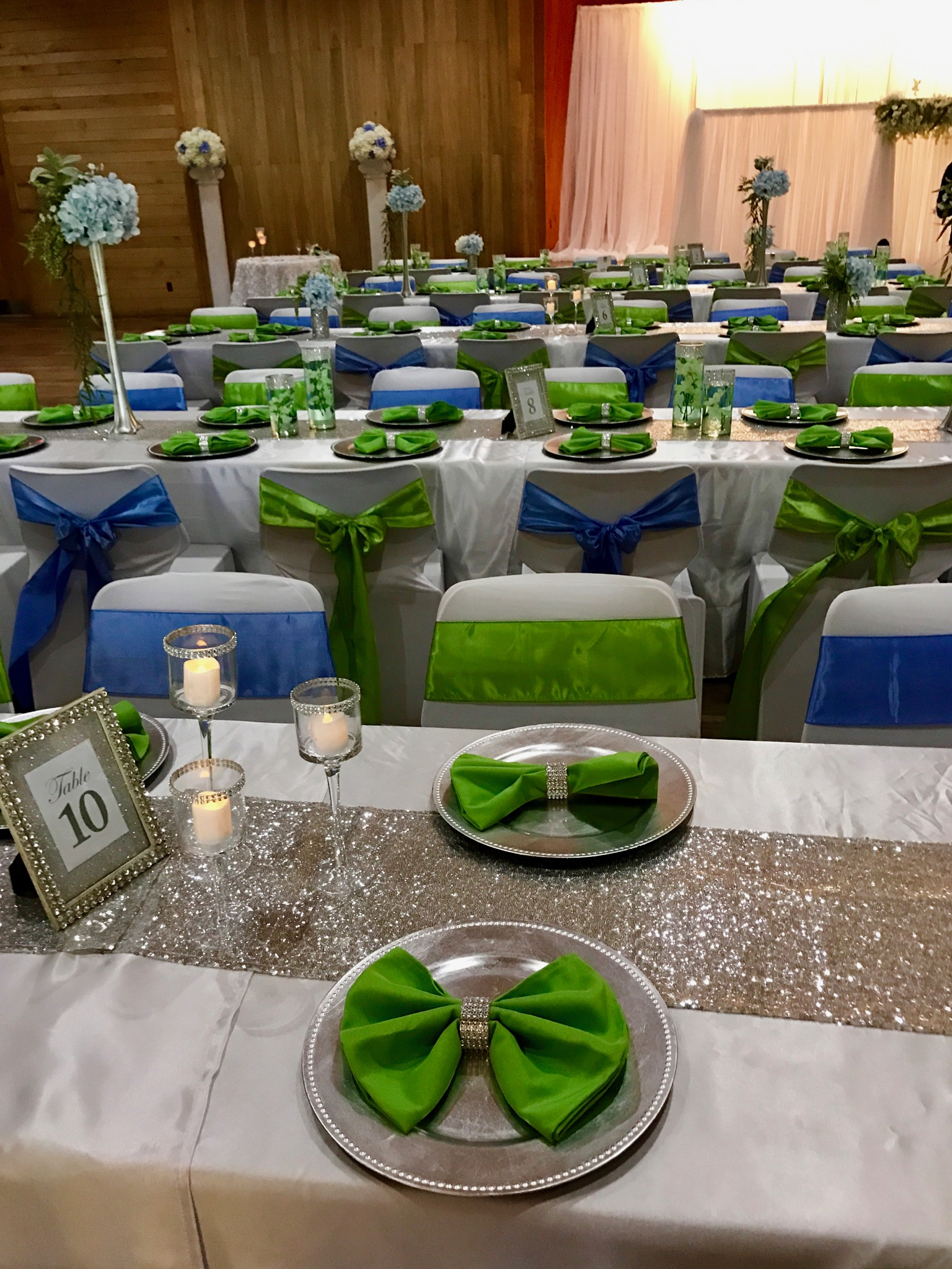 Green and Blue Table Setting