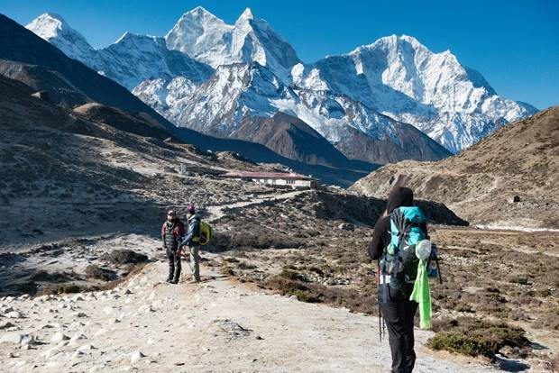Trekking in the Khumbu Valley on our way to Everest Base Camp