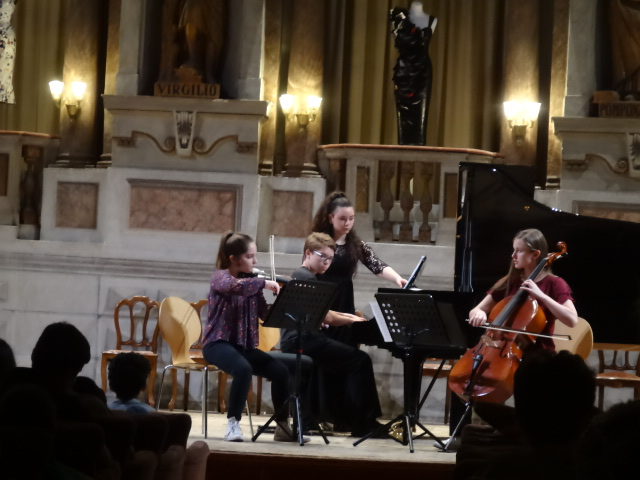 Trio Luminoso performs in Mantua, Italy at the Teatro Bibiena in 2018