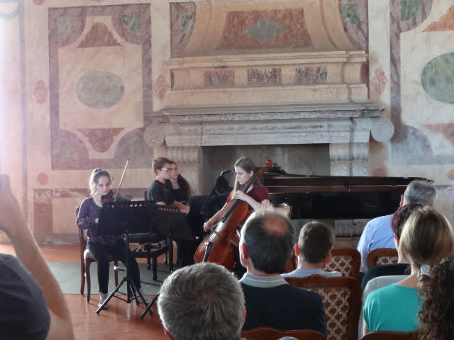 Trio Luminoso performs in Mantua, Italy at the Ducal Palace in 2018
