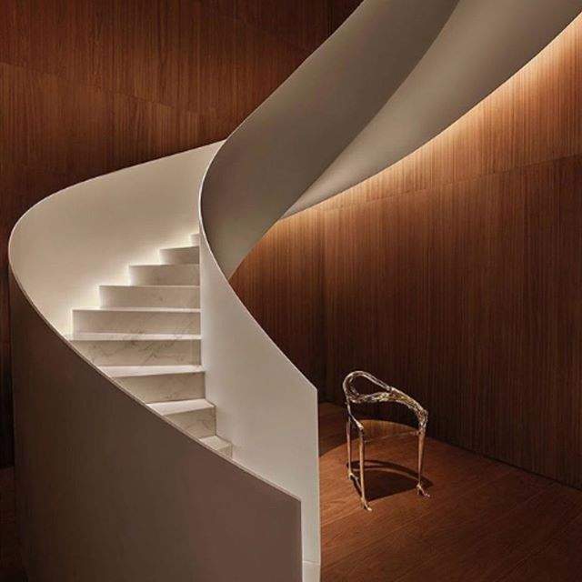Obsessed with staircases lately... this one included. Heaven. . . . . . . . . #entrance #installationart #stairwaytoheaven #spiral #stair #lighting #metal #bonham #curves #heaven #steps #design