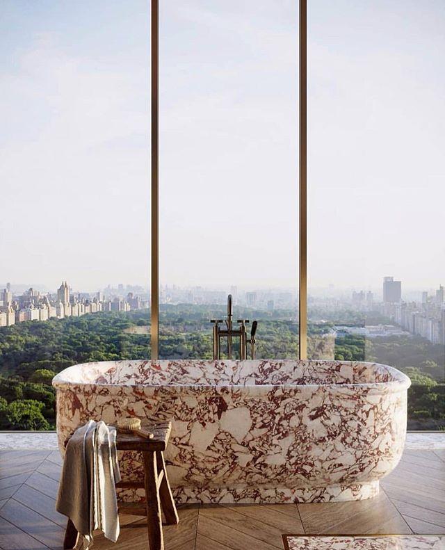 A room with a view.. not too shabby. . . . . . . . . . #curated #marble #bonhaminterior #bonham #luxe #luxury #bathtub #views #soak #calacatta #carved #custom