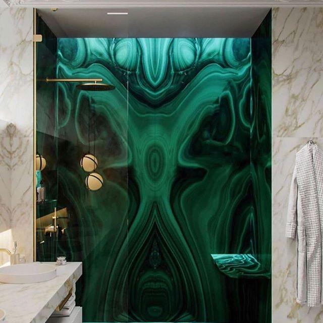 Love the use of semi precious materials ... just in love with malachite slabs lately.. stay tuned . . . . . . . . #luxe #luxury #malachite #bonham #bonhaminterior #bathroom #light #stone #semiprecious #love