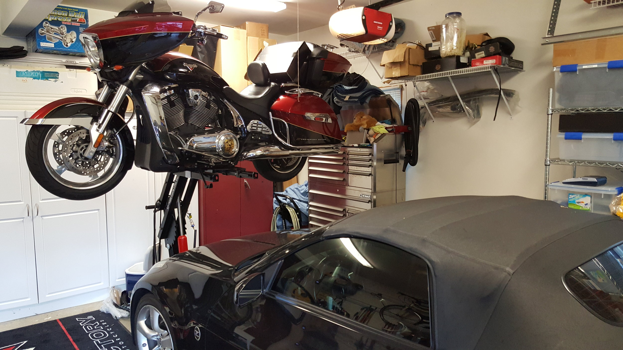 Hey Guys,  Here are the pix of my Victory Cross Country motorcycle on your lift.  The caveat is that we added the steel Witchdoctor's Skid/Jacking plate to provide stability, due to Victory motorcycles using the engine as par of the frame and having a beveled bottom instead of two frame rails like a Harley.  The URL link to this item is: http://buywitchdoctors.com/index.html?search=skid+plate&global=Y&displaycategory_id=2506&searchcategory_id=0&category_id=2506&x=0&y=0  I've included the pix of my Cross Country on your lift.  Thanks again Chad for making a great product.  Sign: Very Satisfied Ultimate Lift Customer,  Joe Lyon