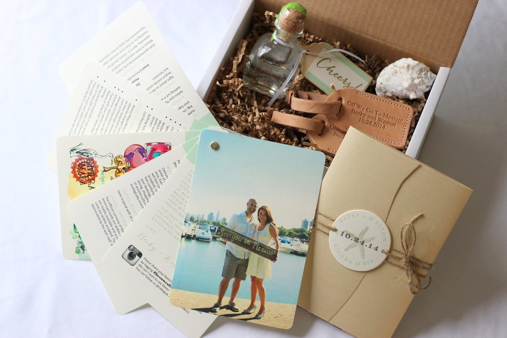Becky and Weston's fun invitation/ welcome package they gave to their guests, tequila included! Who wouldn't want to go to their wedding?
