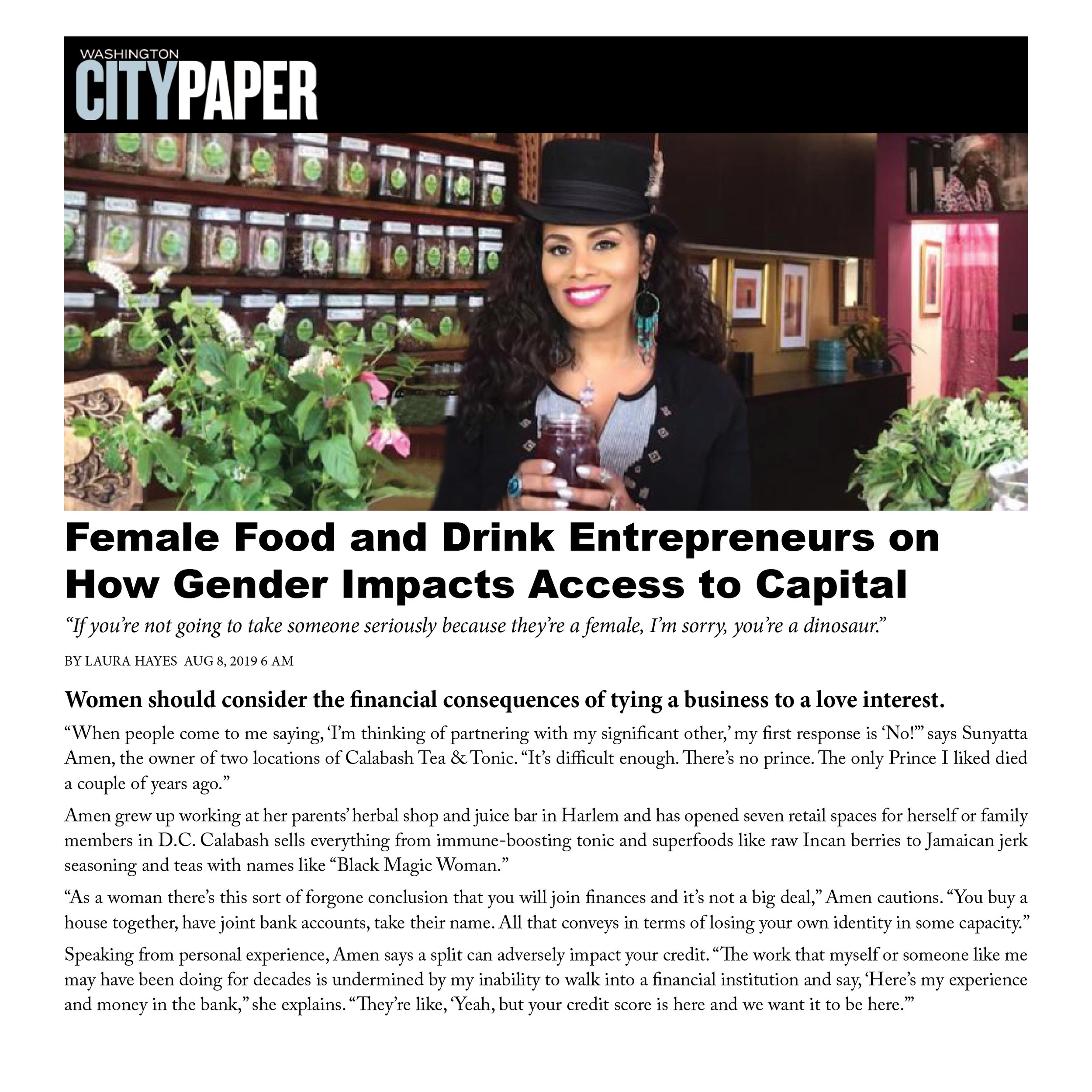 WASHINGTON CITY PAPER - Female Food and Drink Entrepreneurs on How Gender Impacts Access to Capital