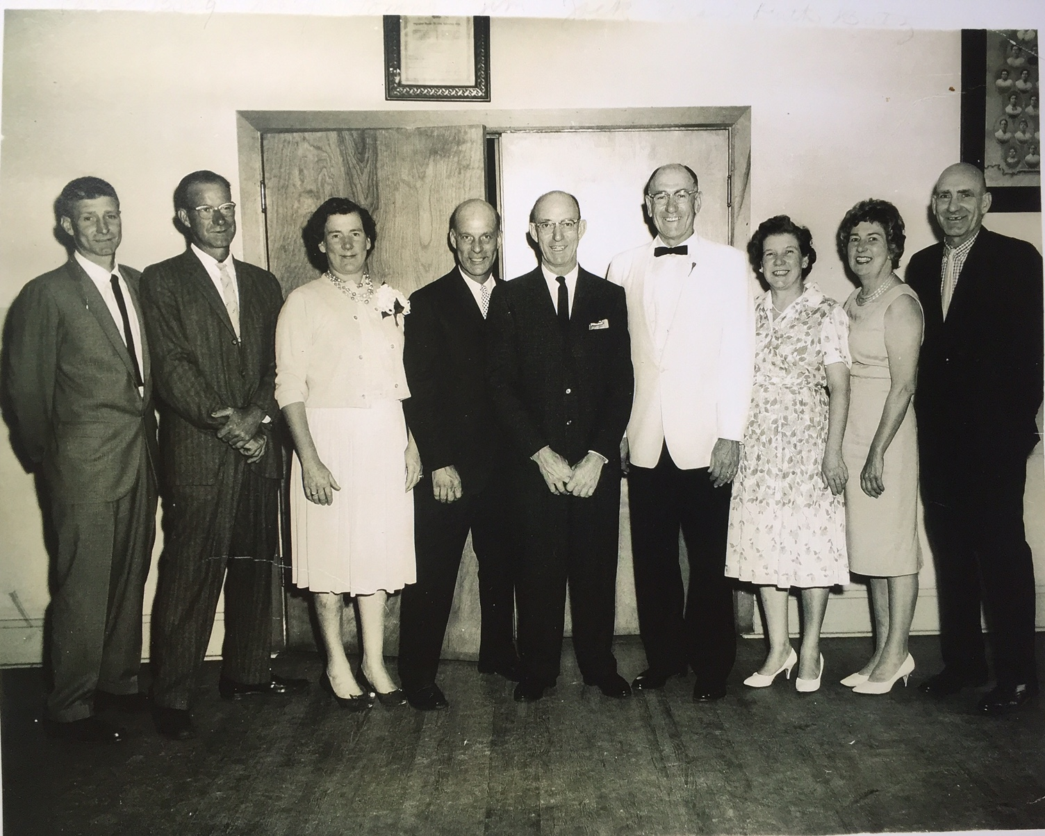 "The Heinmiller Siblings (from left to right) Paul; Billy; Mary; Tommy; Jim; Jack; Fran; Ruth; and Cornelius aka ""Butz"""