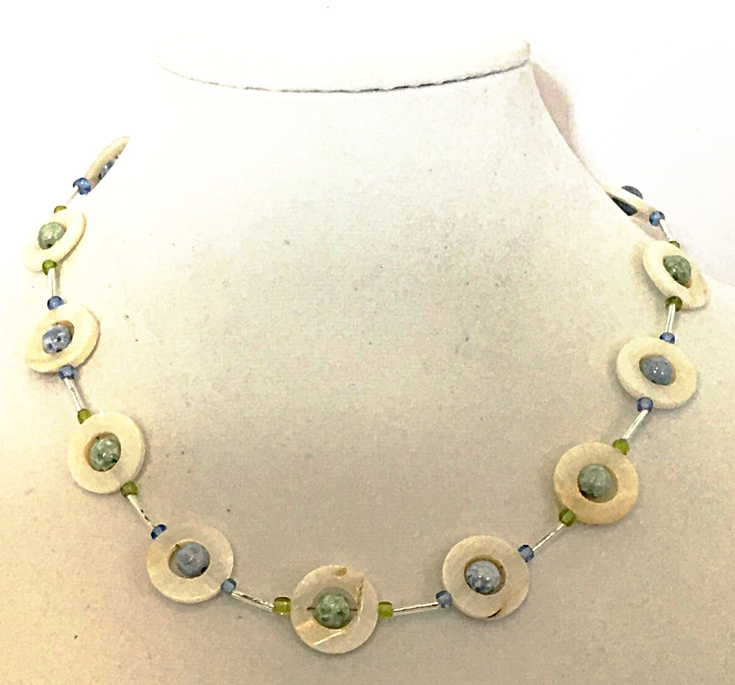 Czech Glass Gold Teardrop Necklace with Faceted Gold Czech Beads With Lobster Clasp Close