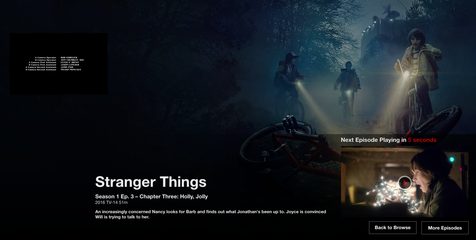 Netflix's next episode auto-play is an example of a nudge to have you continue watching.  Screenshot (featuring Stranger Things), Netflix