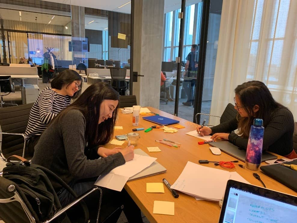 Team members sketching ideas during a design sprint. IMG Credit: Mendix, Inc.