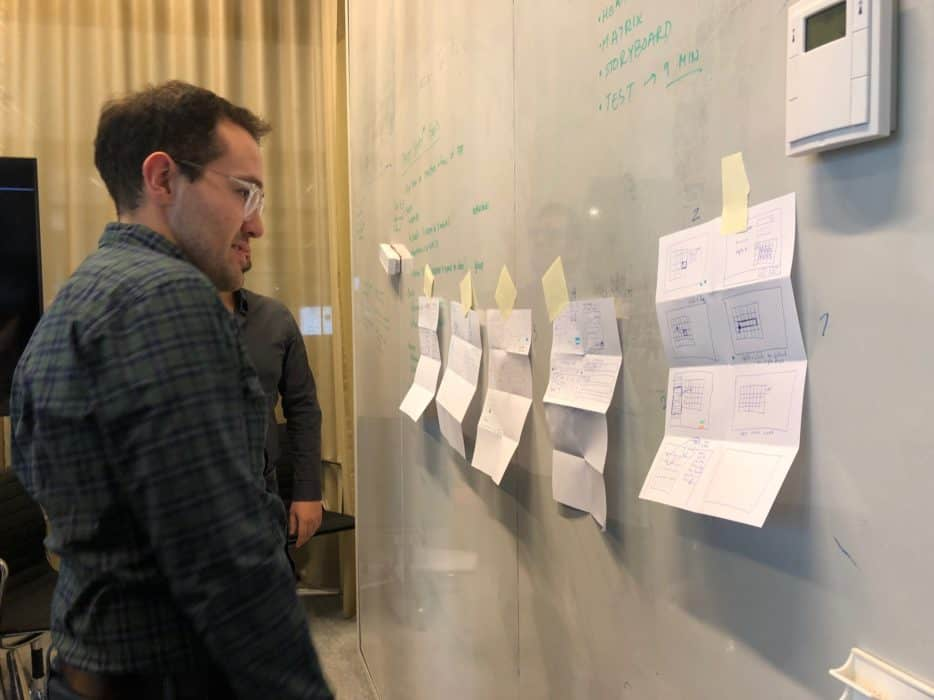 Team members reviewing and voting on sketches from crazy 8 exercise. IMG credit: Mendix, Inc.