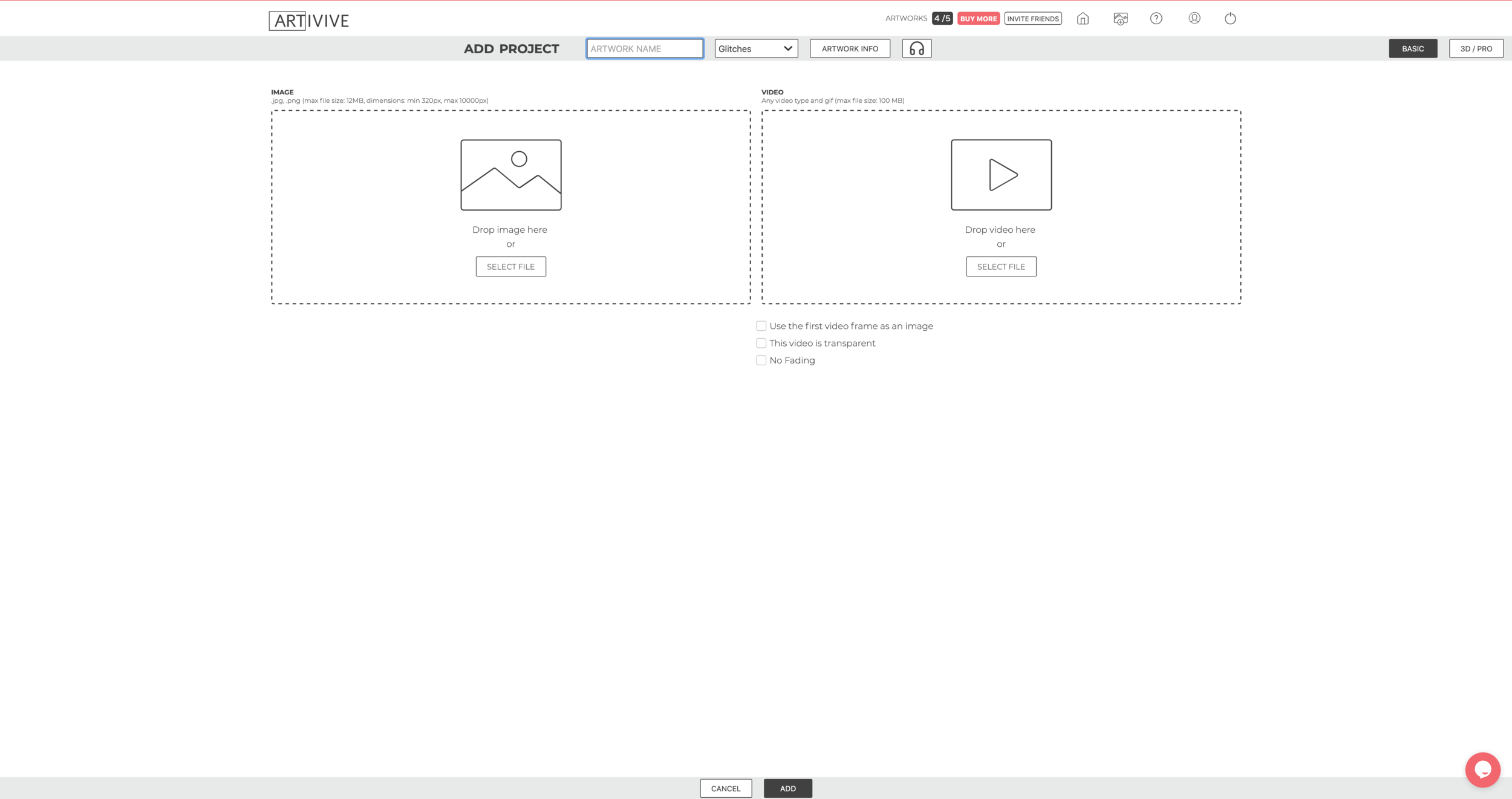 New project screen on  Artivive
