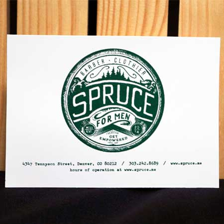 Paper handout for Spruce Barber printed with Algae Ink™