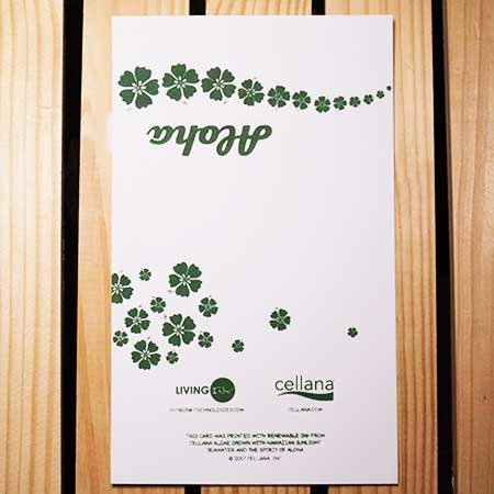 A2 greeting card printed with Algae Ink™