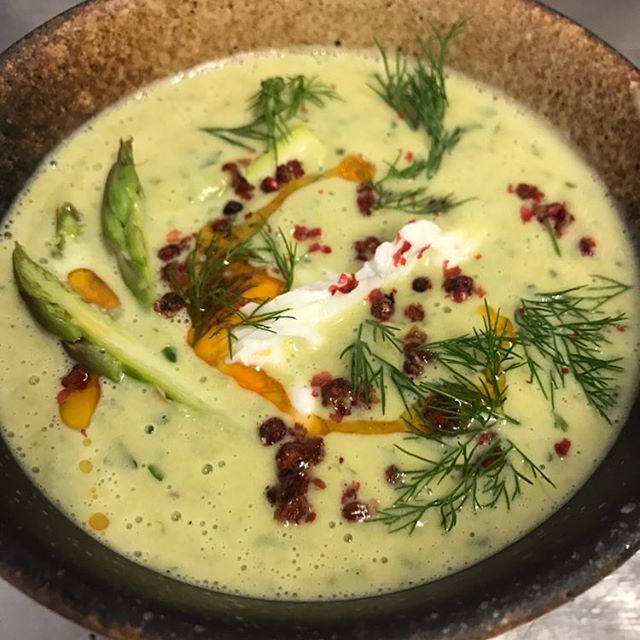 Creme of asparagus soup... Featured on our valentines day menu which is just a few days away! For reservations call 732-250-8788 #creamofasparagus #eatfreerange #freerangerestaurant #seasideheights #nj #foodporn #nofilter #foodie #farmtofork #farmtotable #valentinesday