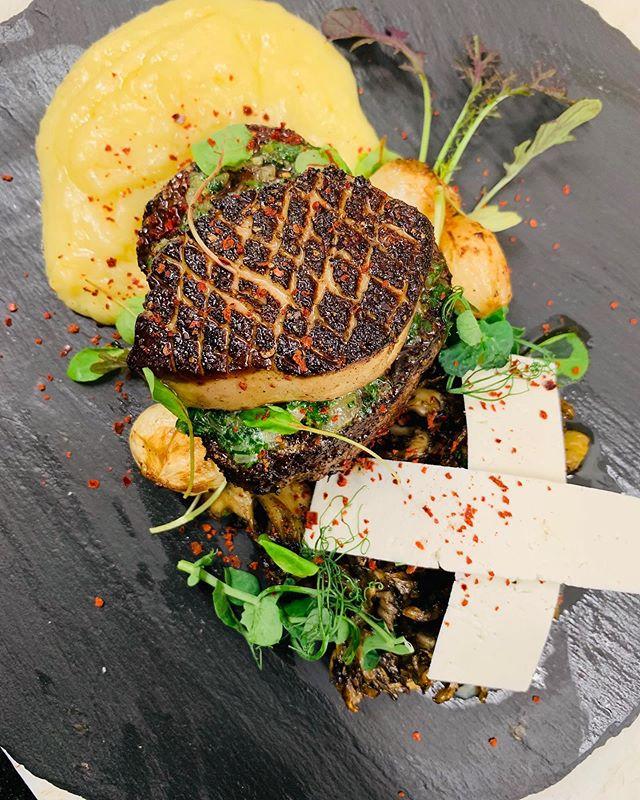 Waygu fillet mignon & hudson valley foie gras with @harvest_drop hen of the woods mushrooms, ricotta salata and potato puree #eatfreerange #foodporn #seasideheights #seasideheightsnj #seasideheightsboardwalk