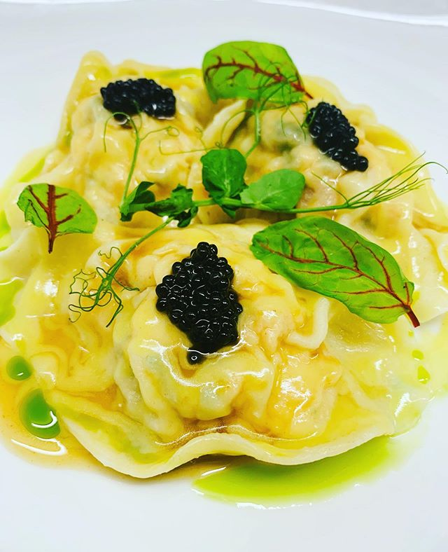 Weekend special could turn into a new menu item for the rest of the summer? What are your thoughts leave in the comments below!  Lobster Ravioli & White Sturgeon Caviar, lemon vinagrette, cognac reduction, sorrel, chive.  #seasideheights #farmtotable #eatlocal #supportlocalnj #lobsterravioli #caviar #localingredients