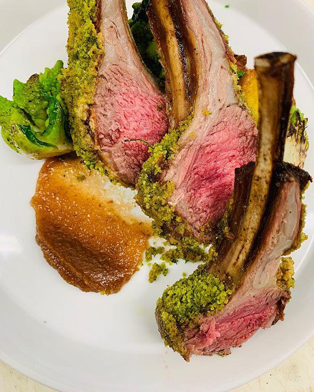 🚨New Menu Item🚨 -Rack of Lamb- Romanesco, pear jam, duckfat potatoes, dijon  #eatfreerange #freerangerestaurant #eatlocalnj #farmtotable #farmtofork #industry #lambchops #seasideheights #seasideheightsboardwalk #seasideheightsnj