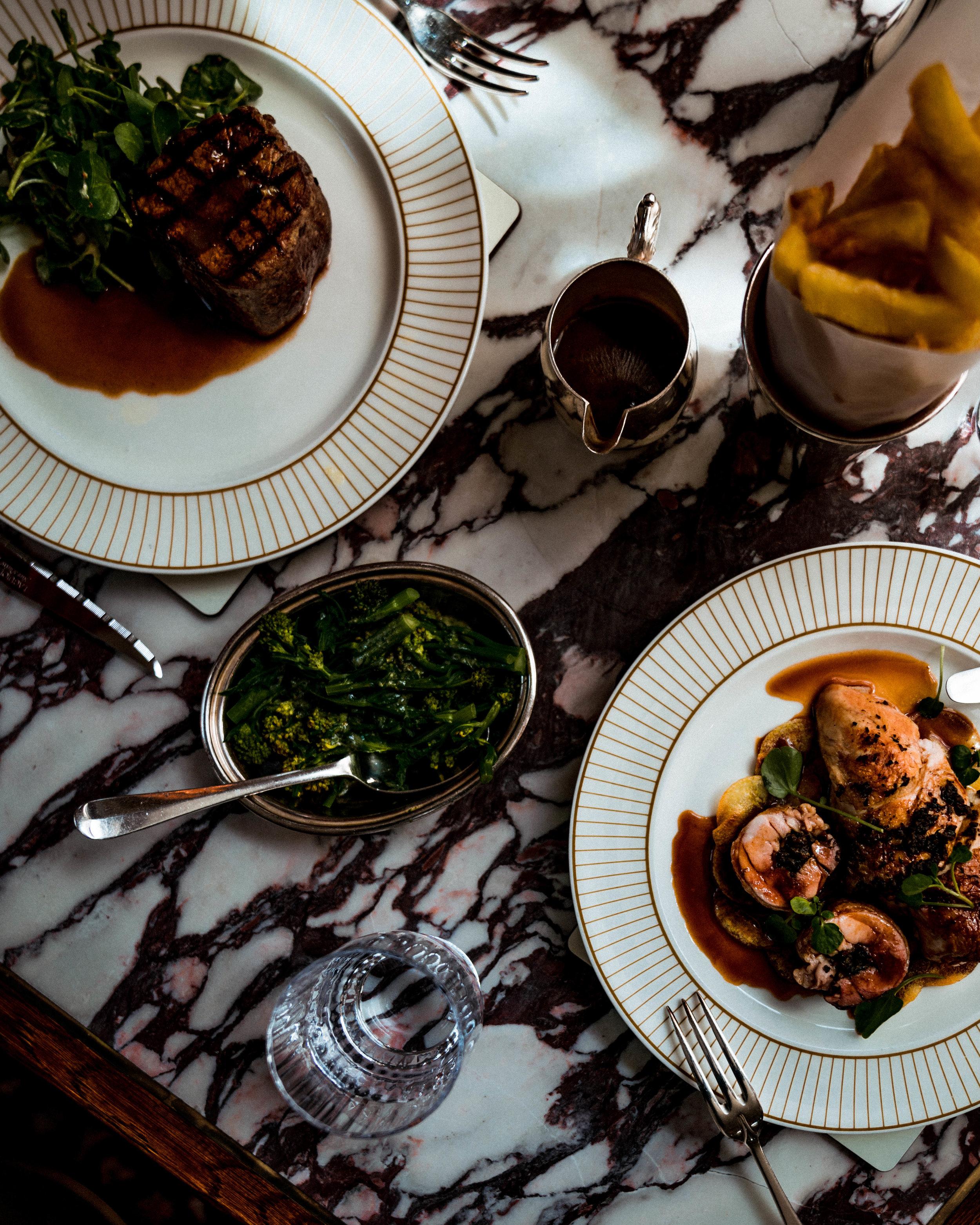 Truffle roast Banham chicken, Lake District farmers fillet of beef