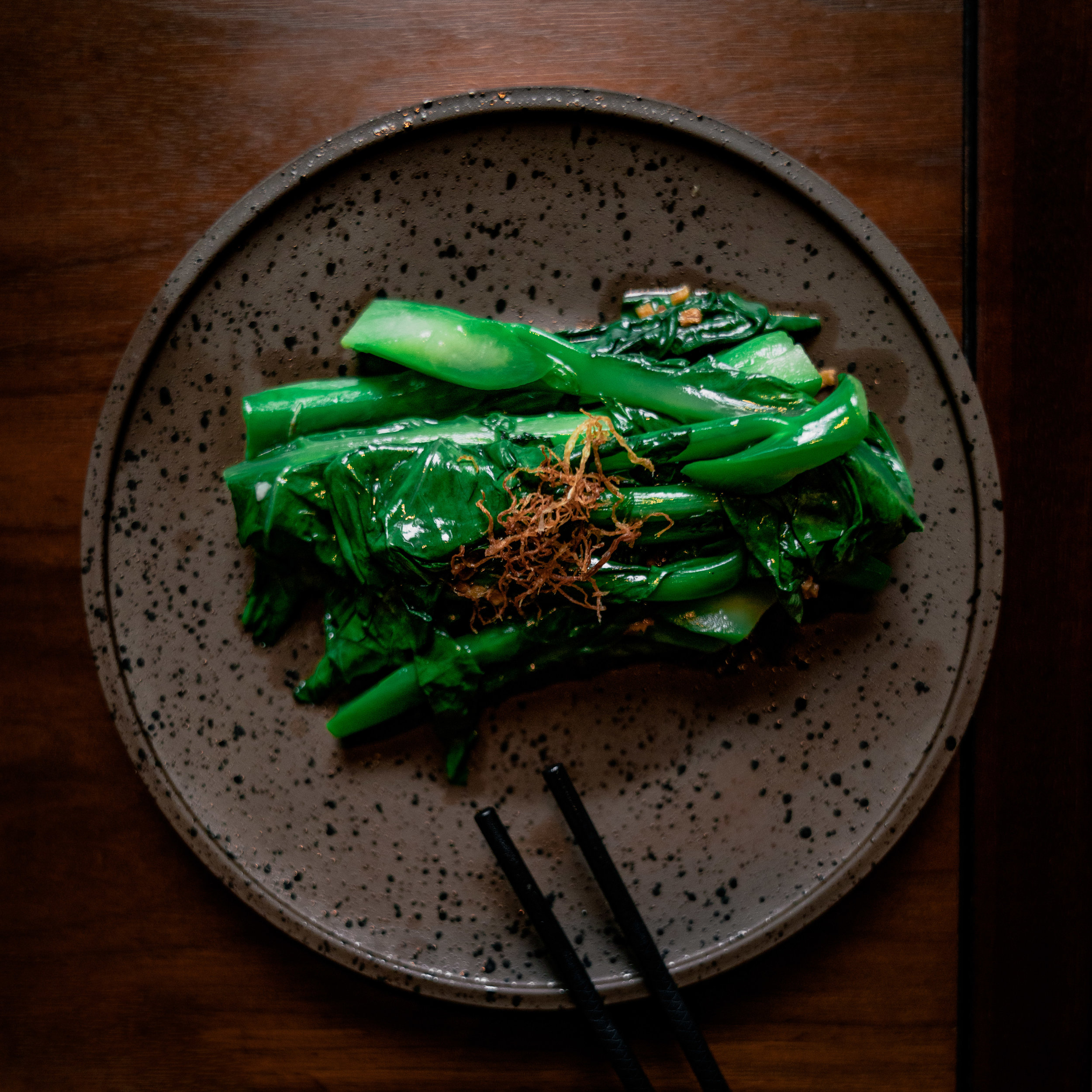Stir fried Chinese seasonal vegetable with ginger