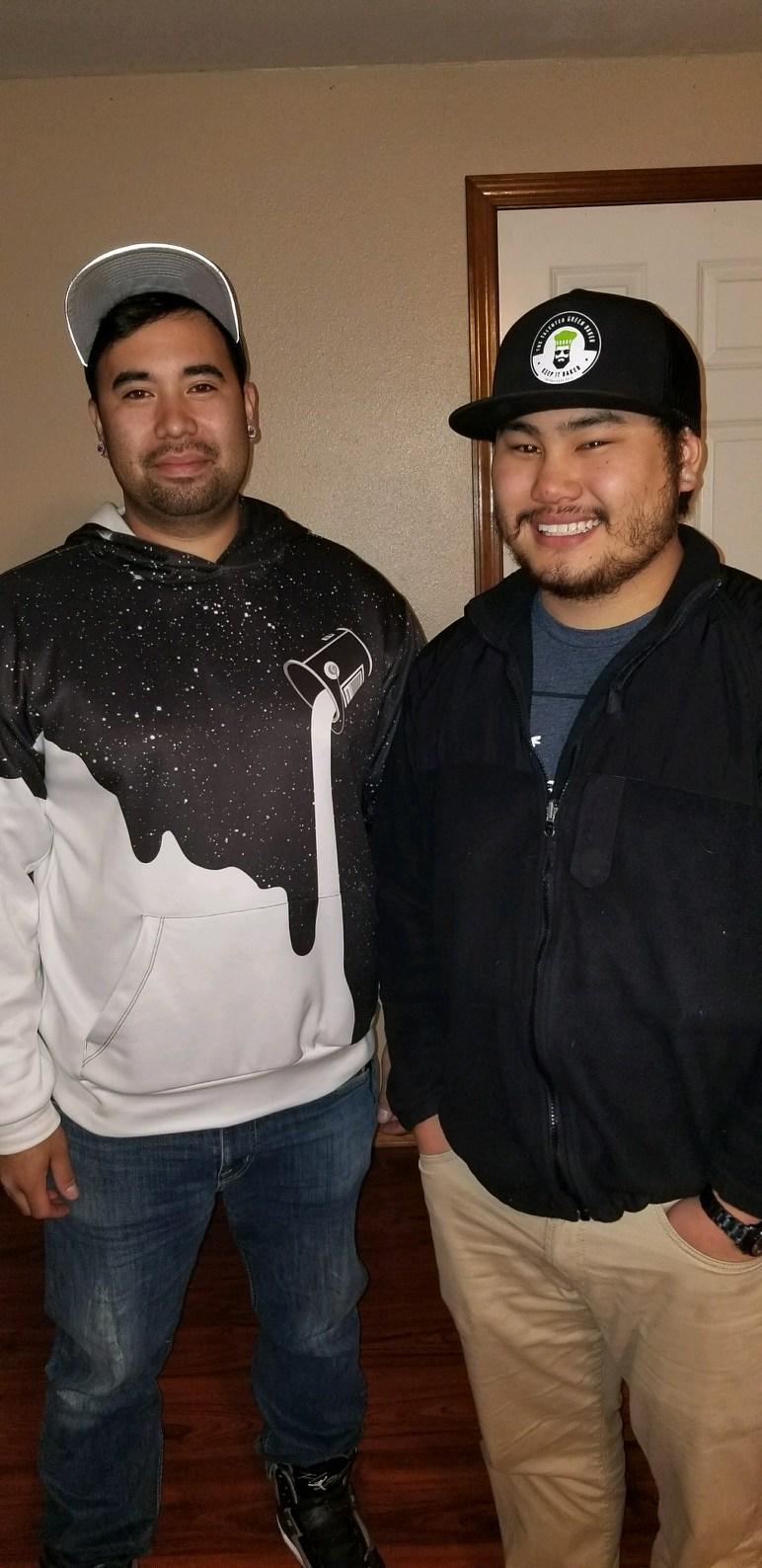 Cousins, and fellow military veterans, Antonino DePeralta (left) and Steve Nguyen (right)
