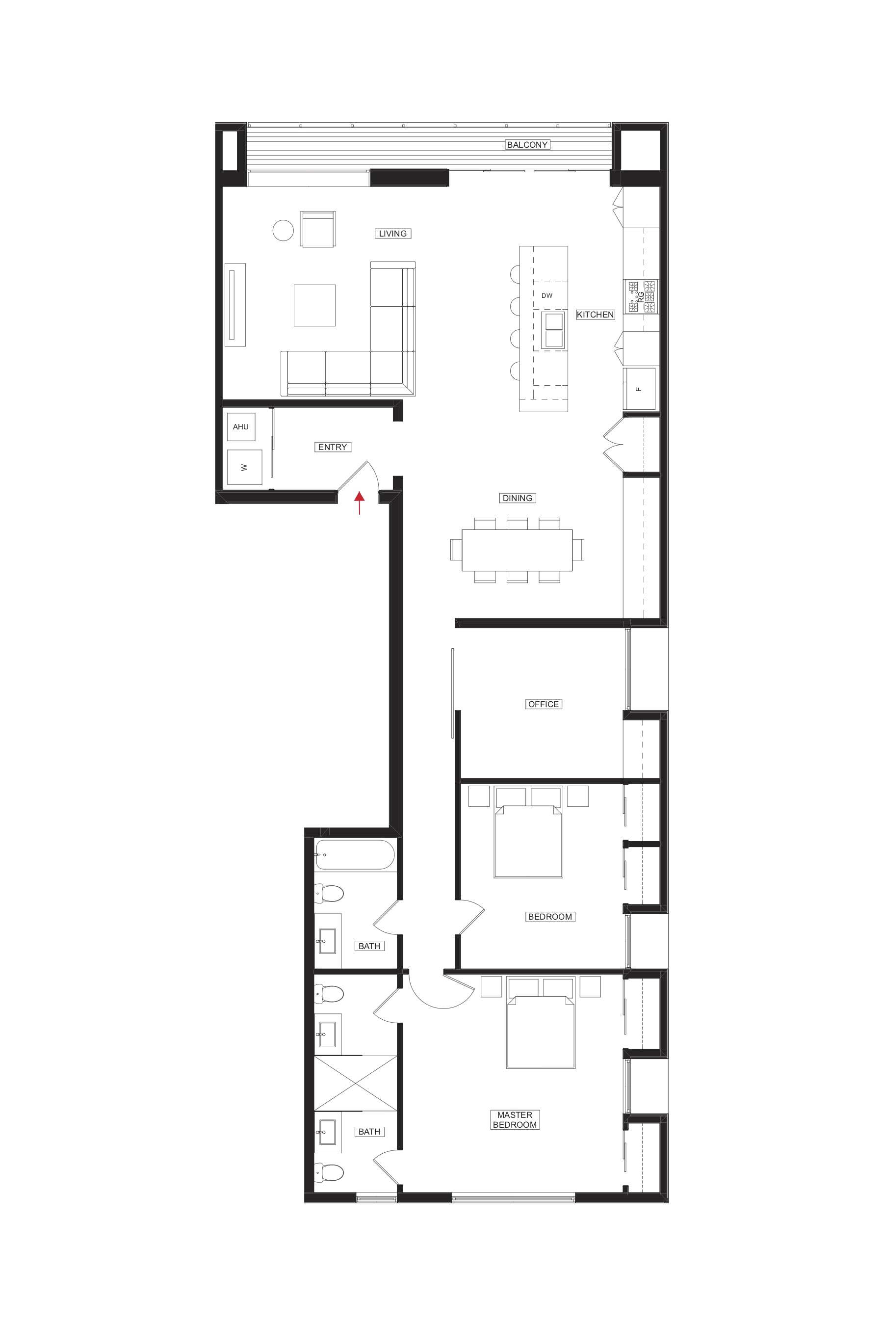 ( 2nd Floor East (2 Bedroom) = 1,780 SF shown above. All apartments have open floor plan + with northern light.