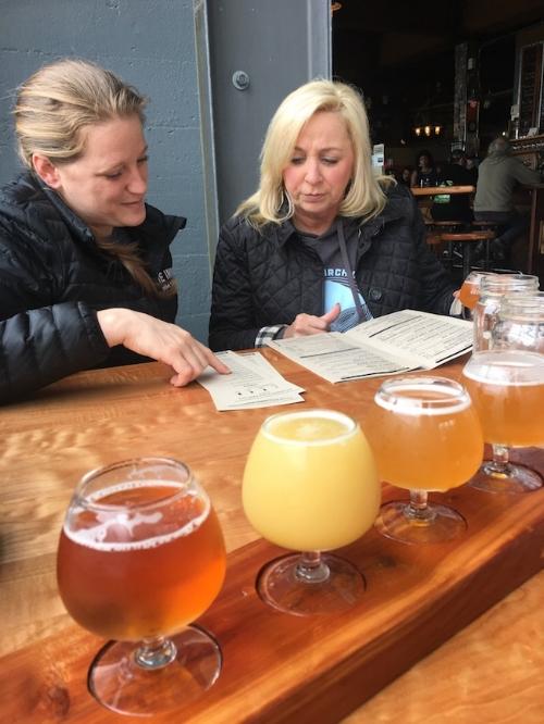 Sampling fine craft beer at Fort George Brewery in Astoria.