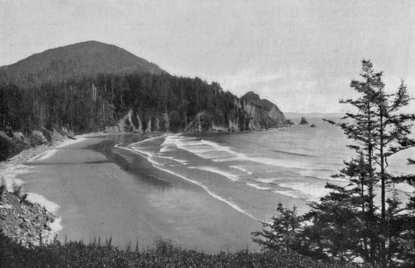 Neahkahnie Mountain (in background) around 1920 with Short Sand Beach/Smuggler's Cove in the foreground