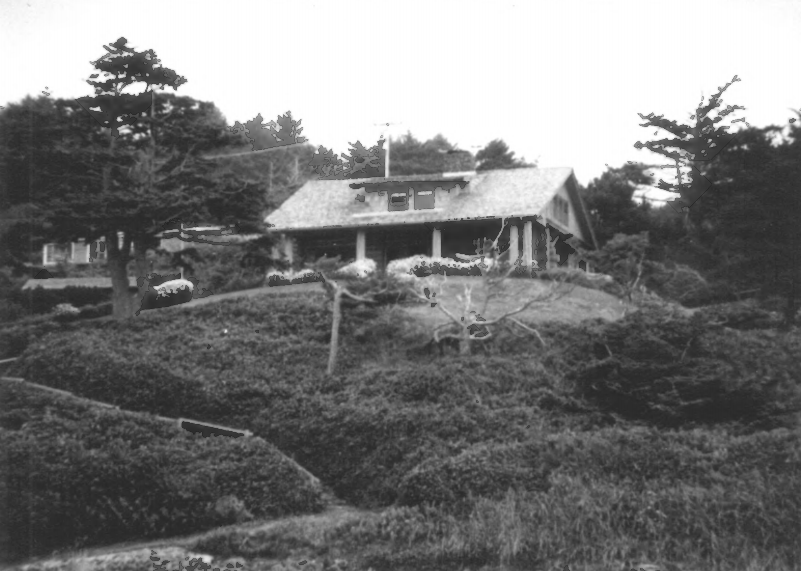 Former Oregon Governor Oswald West's coastal cabin, Cannon Beach, near Haystack Rock, 1939