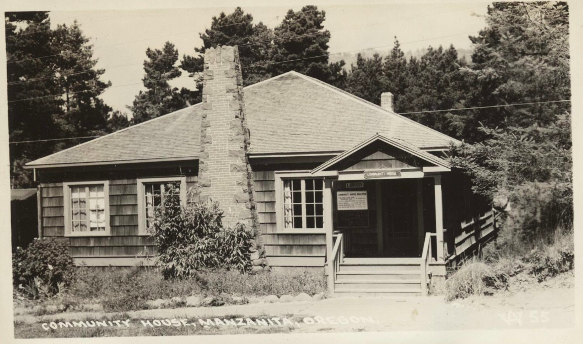 Real photo postcard of the Pine Grove Community House, Manzanita