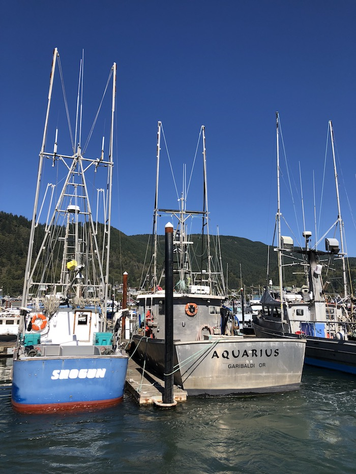 July and August on the Oregon Coast are marked by plenty of blue skies (pictured above: The Garibaldi Marina)