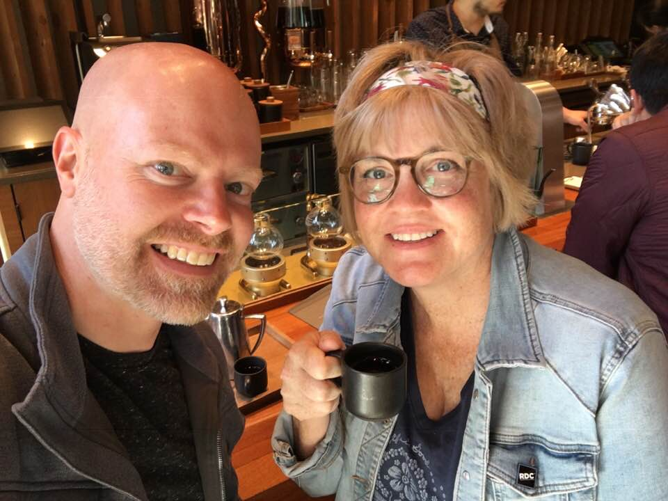 My husband, Jason and I have been married for 25 years. In the pic, we were at the Starbucks Reserve in Seattle tasting siphon coffee. Later, we filmed a lot of what is becoming my online painting course! If I ever get stuck on technology, super-geek jumps in to rescue me.
