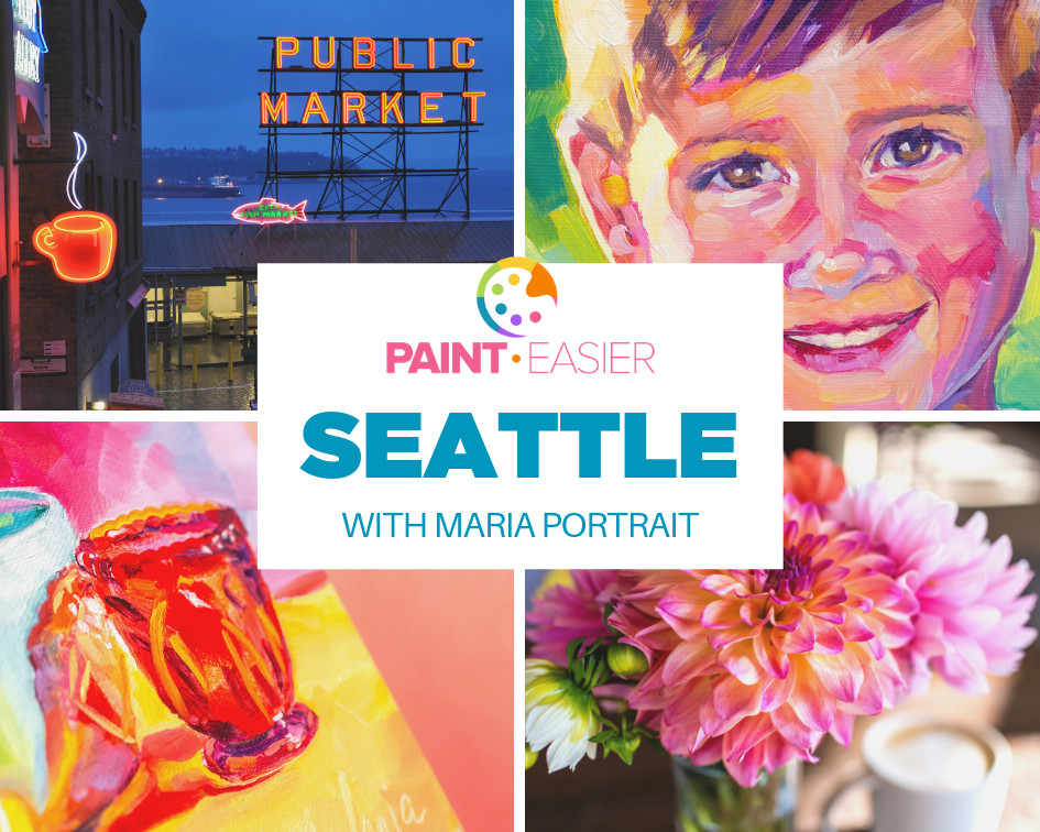 Seattle: The City of Flowers Online Course - Travel with Maria Portrait to Seattle (all online!) to get inspired by the famous flowers at Pike Place Market.In this PaintEasier online course, you will—drink your favorite coffee and get inspired and empowered to be your best creative self.—learn Maria's 5 simple steps to a fail-proof painting. You can do it!—follow along as Maria prepares you to paint vibrantly and correctly the three main demos: The Still Life, The Floral and the Portrait!The videos are full-length and well-paced so you will start creating faster than ever. Maria has a knack for simplifying the complex. Use her beautiful photo references to paint joyful works of art that will surprise you!