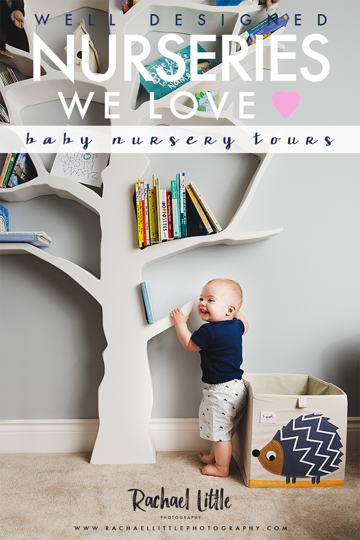 Nursery Tour of an amazing baby's room featuring a handmade tree bookshelf.  A cozy bedroom for a new baby and his parents decorated in blues and greys with rustic shiplap and custom crib + change table.    Photographed near Woodstock, Ontario by Rachael Little Photography.
