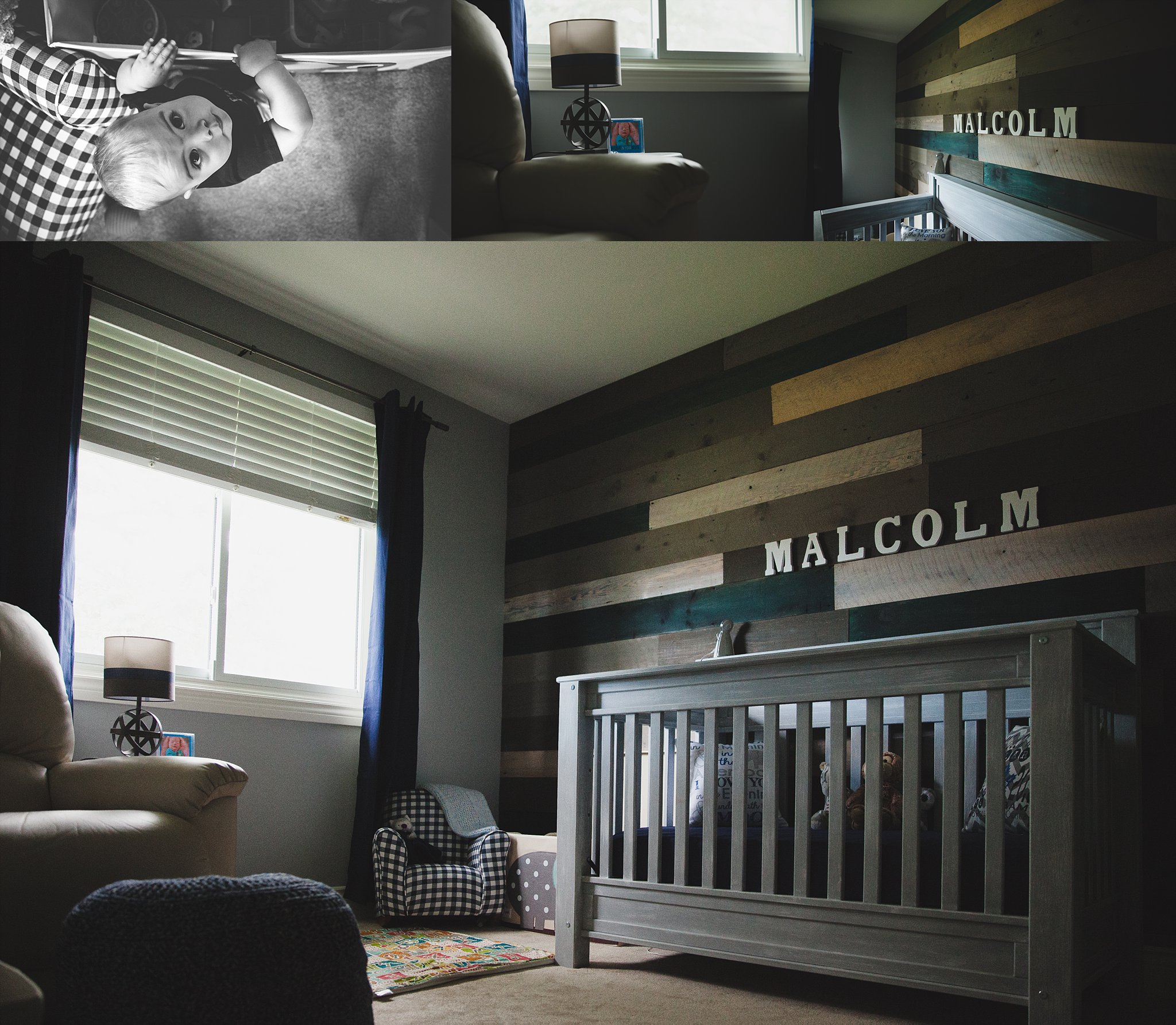 Baby boy nursery & bedroom with barn board feature wall. Photographed near Woodstock, ON  by Rachael Little Photography.