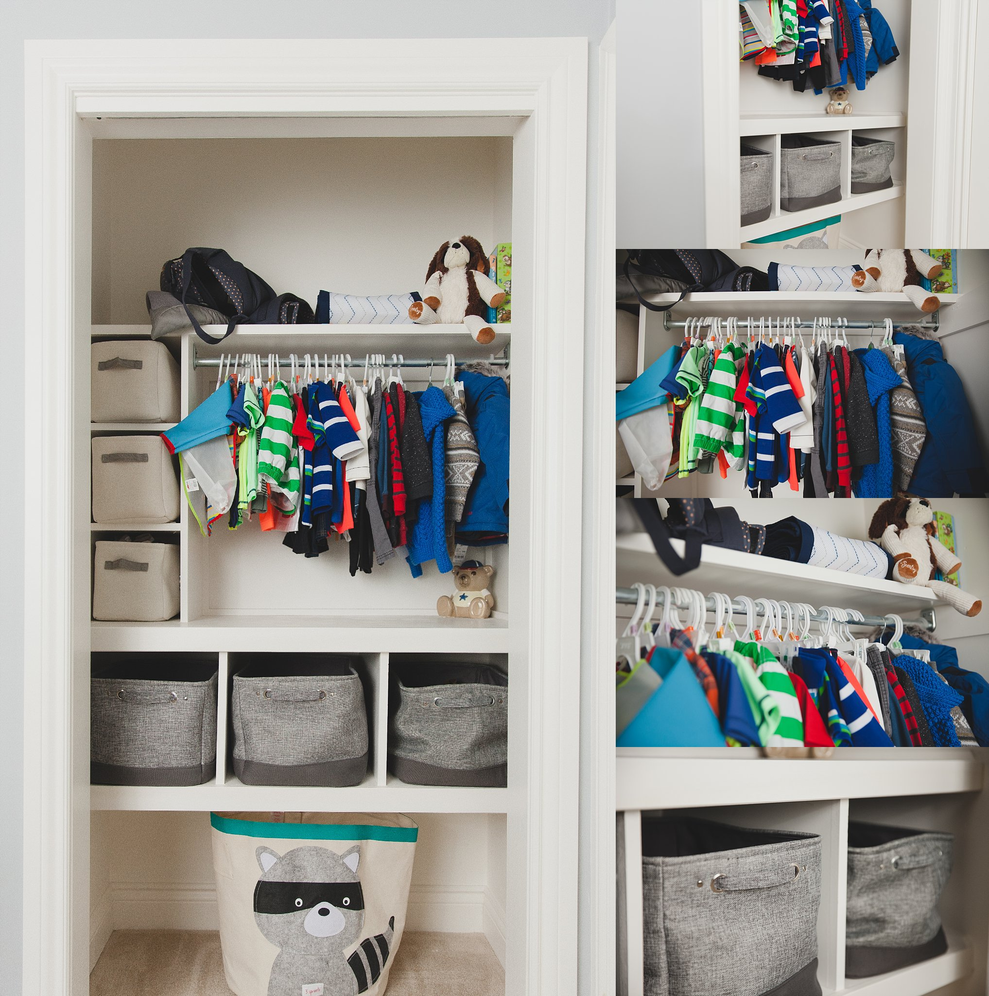 Very organized closet in baby boy nursery. Photographed near Woodstock, ON  by Rachael Little Photography.