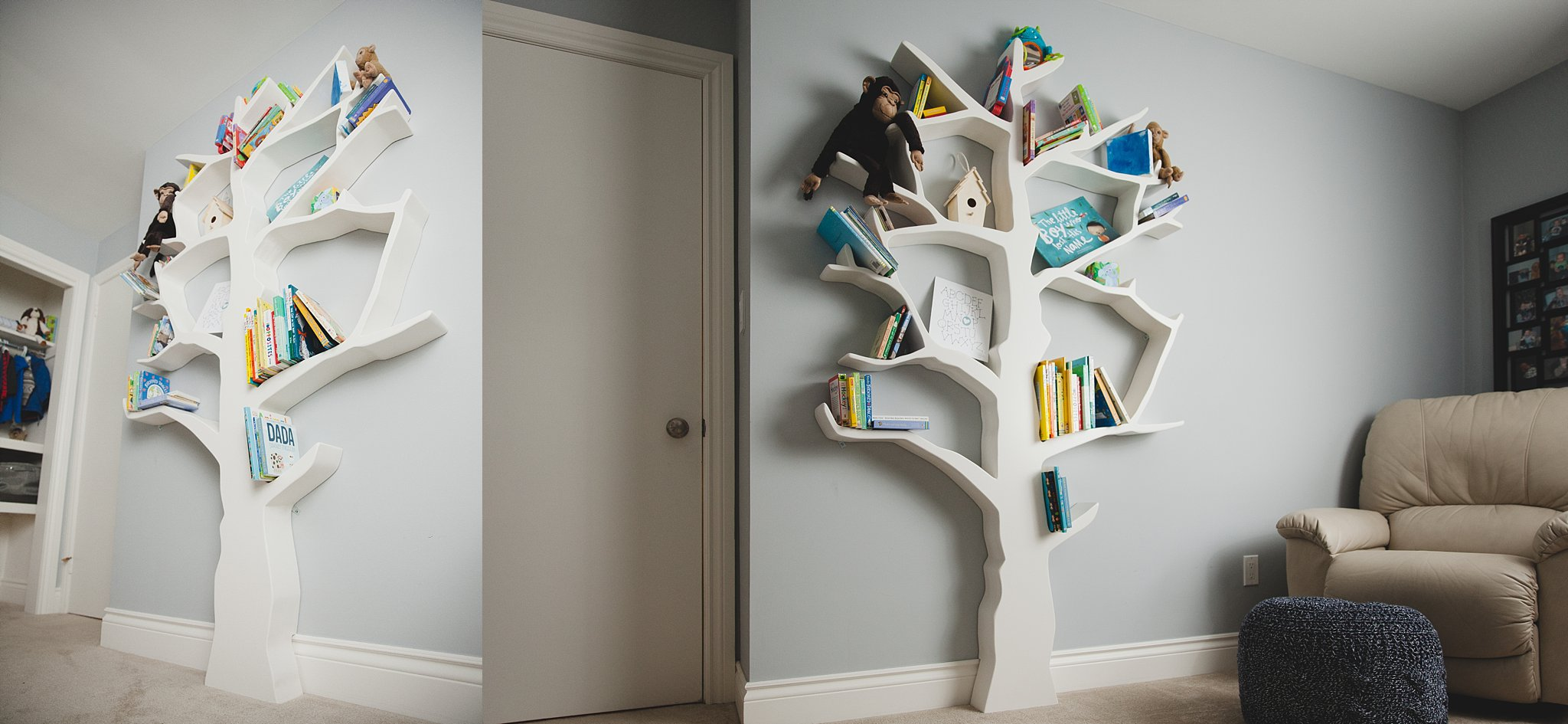 Seven foot tall handmade tree bookshelf for kids room.  Photographed near Woodstock, ON  by Rachael Little Photography.