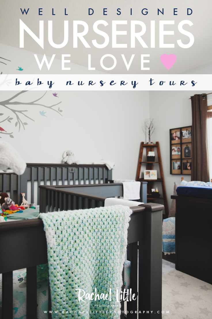 Photograph of twin nursery, featuring custom made crib for two. The crib features two wings and a common area in the middle. The side of each crib is monogrammed with the twin's names. Photographed in London, Ontario by Rachael Little Photography.