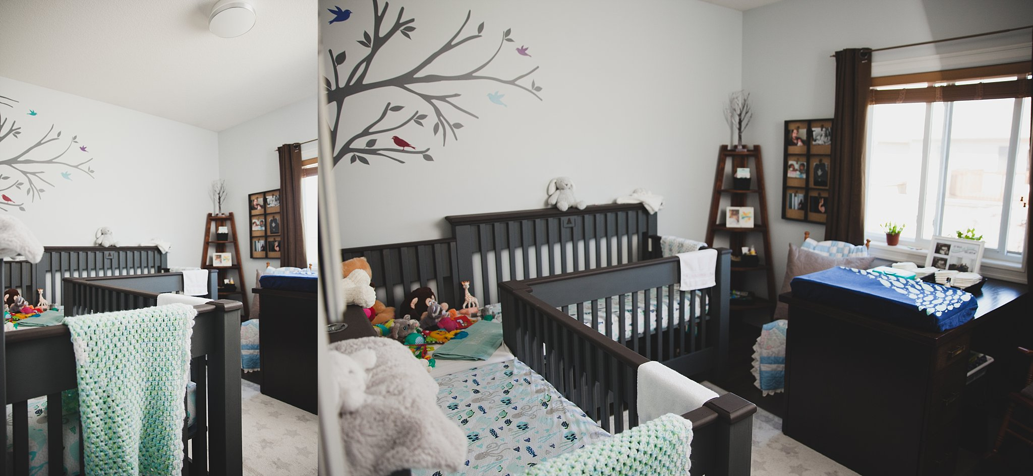 Double crib for twin babies.