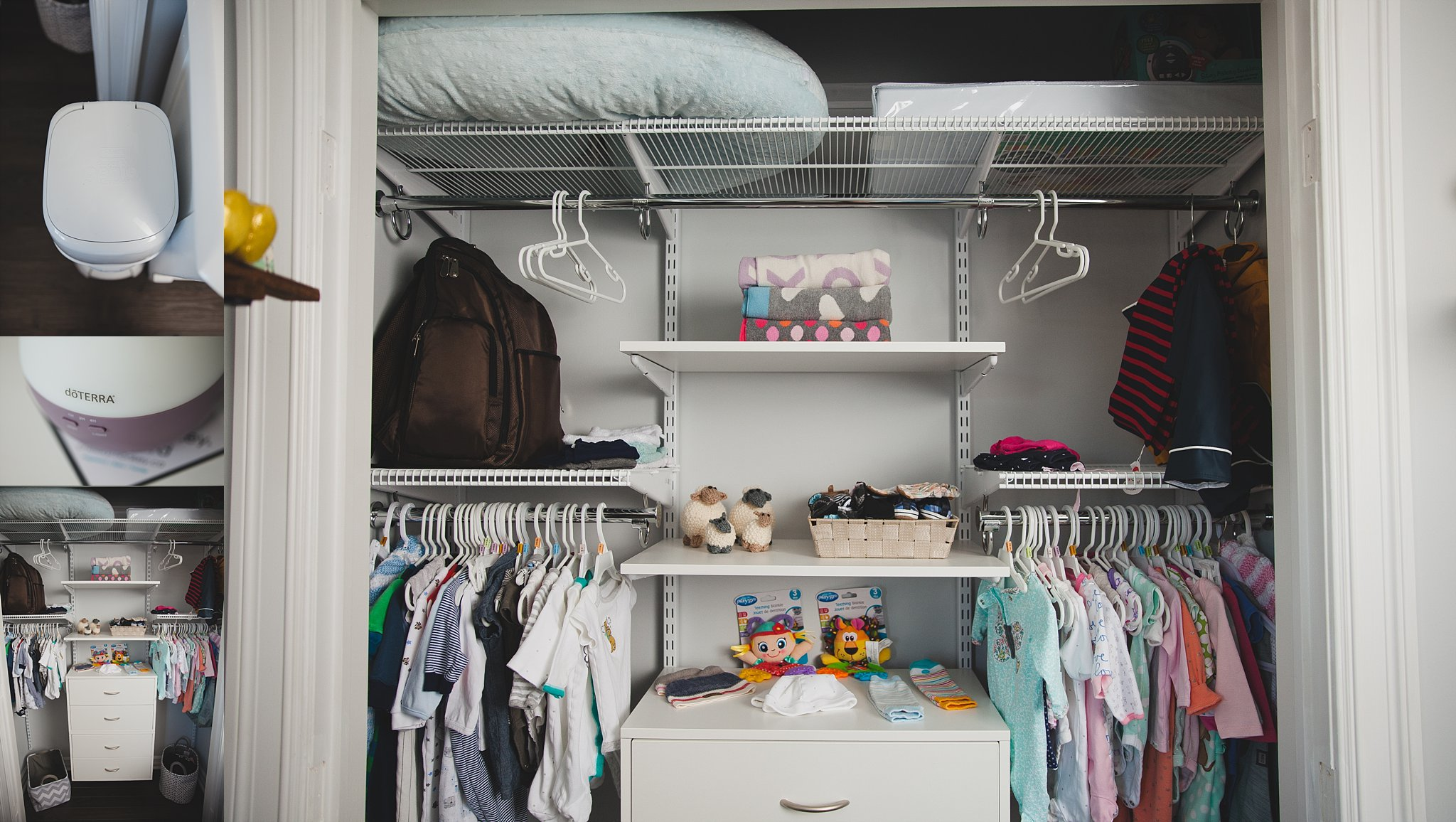 Very Organized his and her closet for a twin baby nursery.