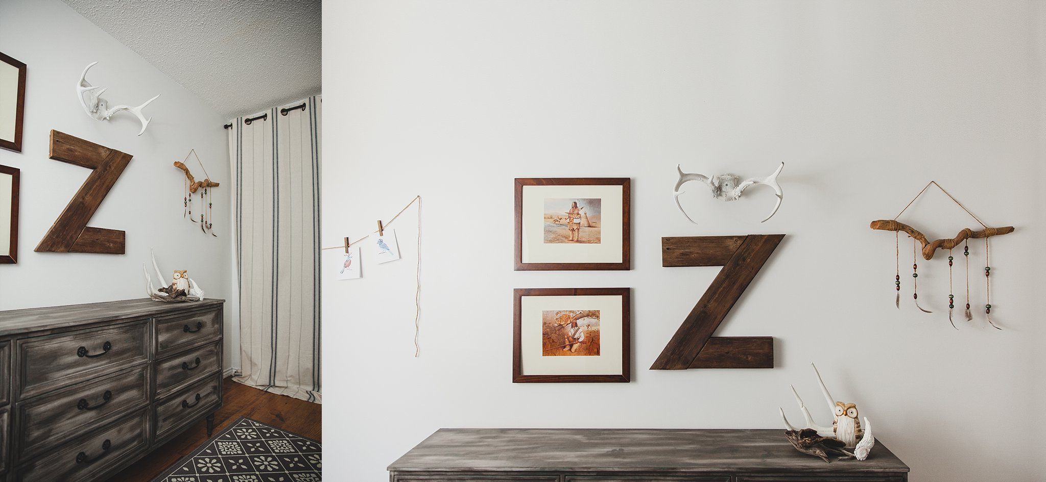 A picture of a rustic modern nursery vignette featuring a wooden letter Z, antlers and framed artwork. Photographed by Rachael Little Photography in Woodstock, Ontario.