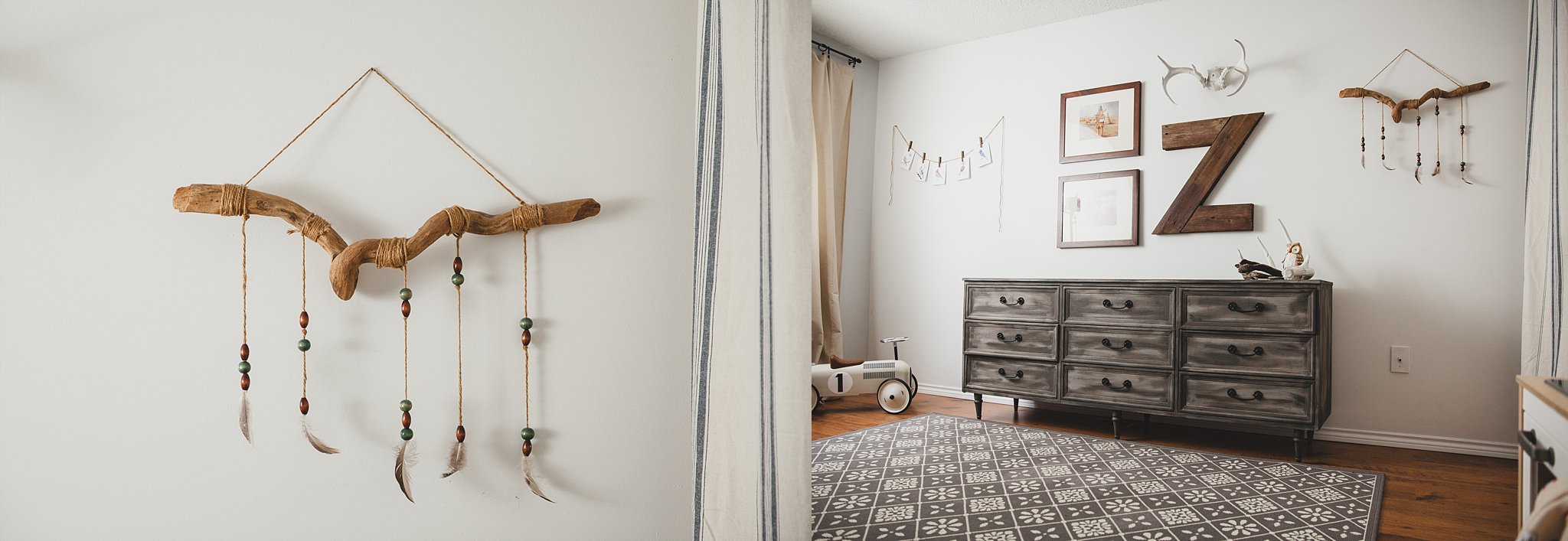 Modern styled nursery with macrame and feather hanging art. Photographed by Rachael Little Photography in Woodstock, Ontario.