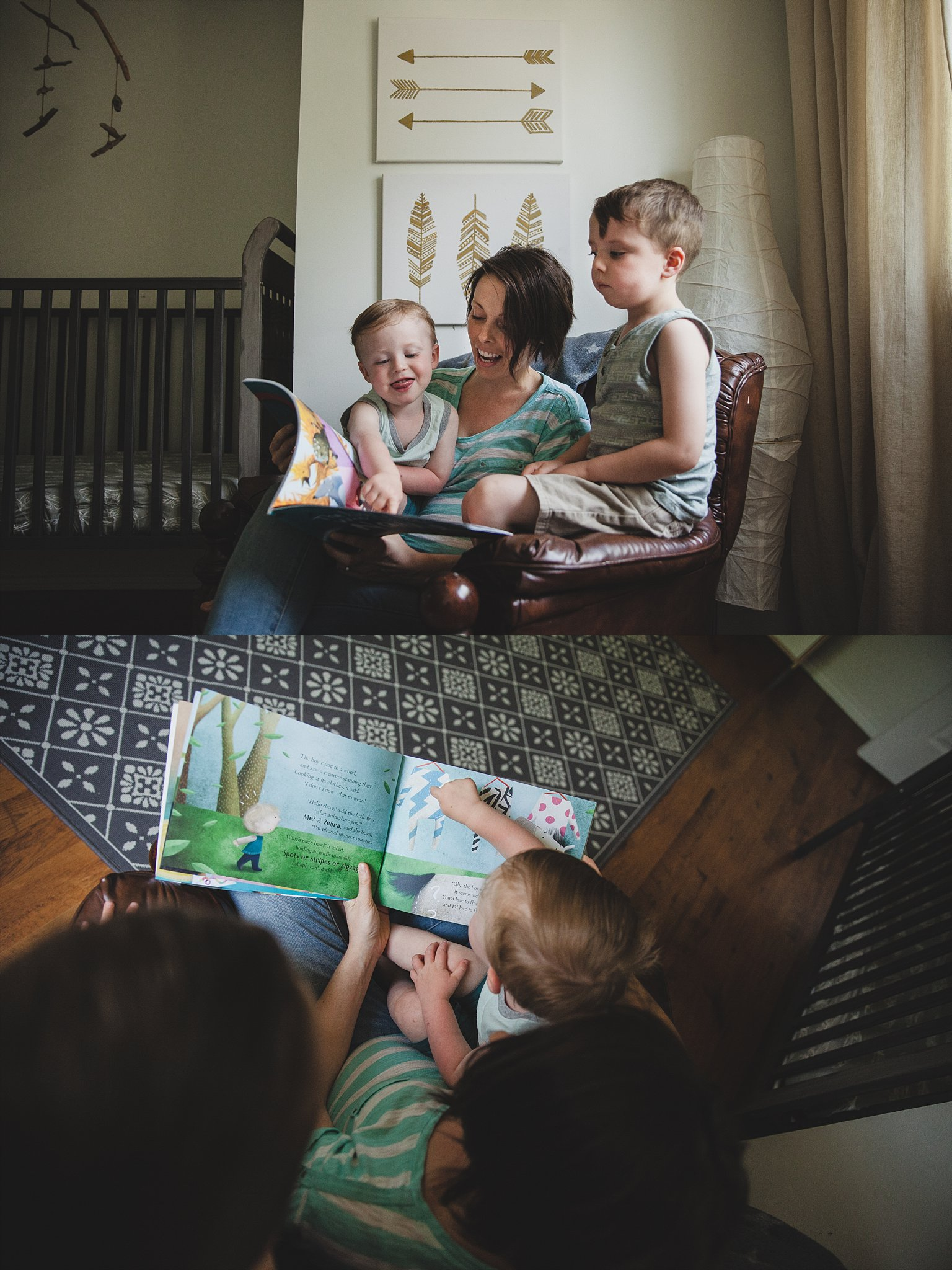 Reading a story in the baby nursery. Photographed by Rachael Little Photography in Woodstock, Ontario.
