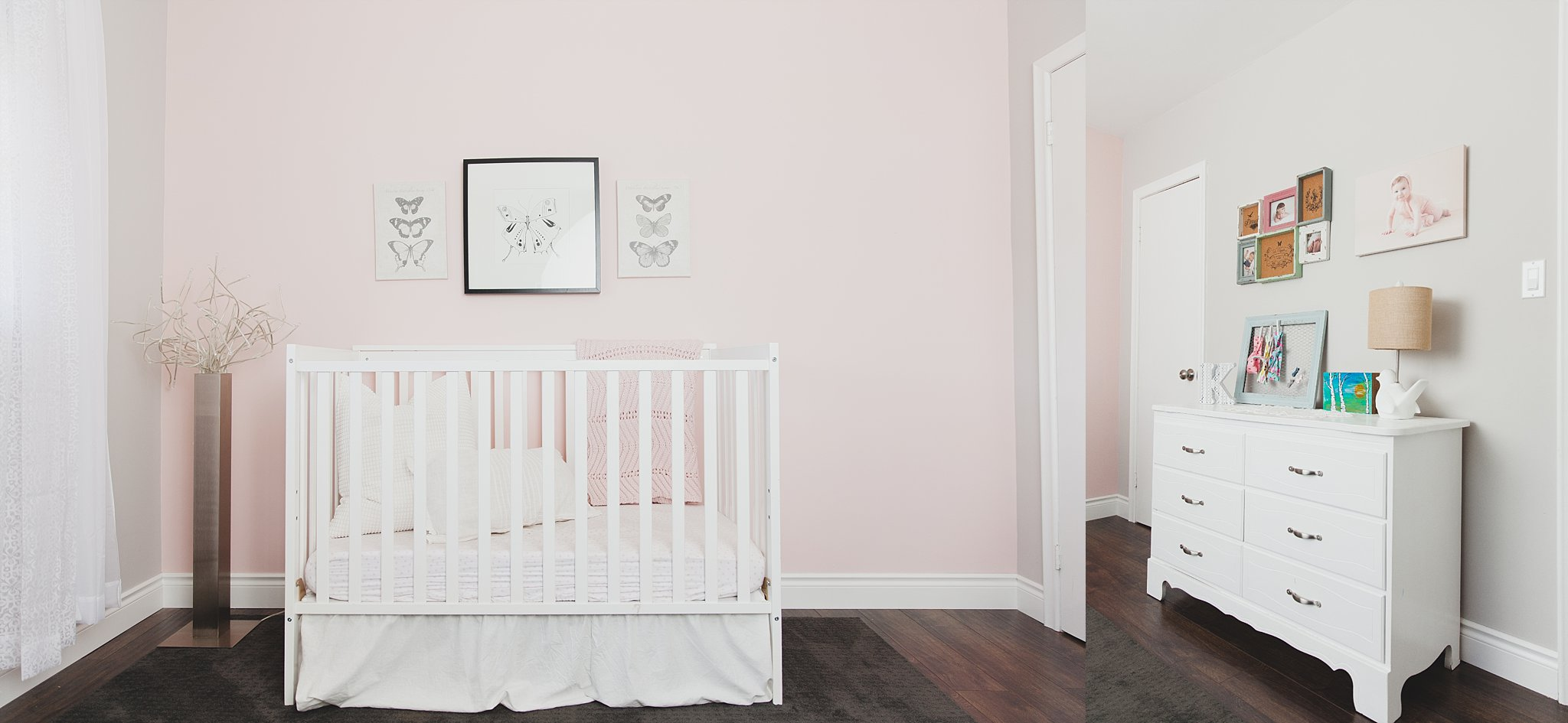 Chic Grey + Pink Nursery for a girl, featuring LED floor lamp, butterfly prints and white dresser. Photographed by Rachael Little Photography in Woodstock, Ontario.