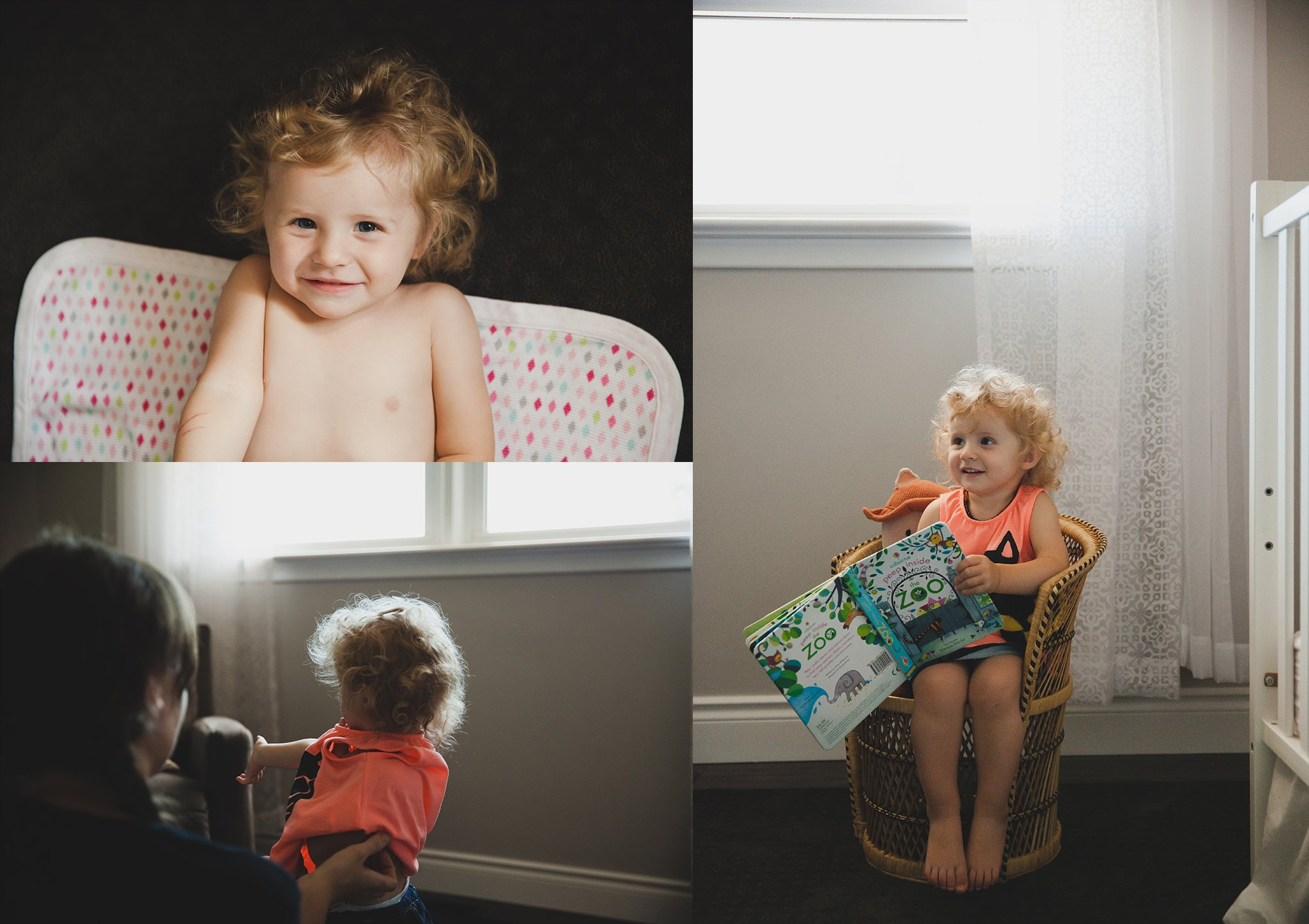 Baby girl playing in her bedroom, reading stories.
