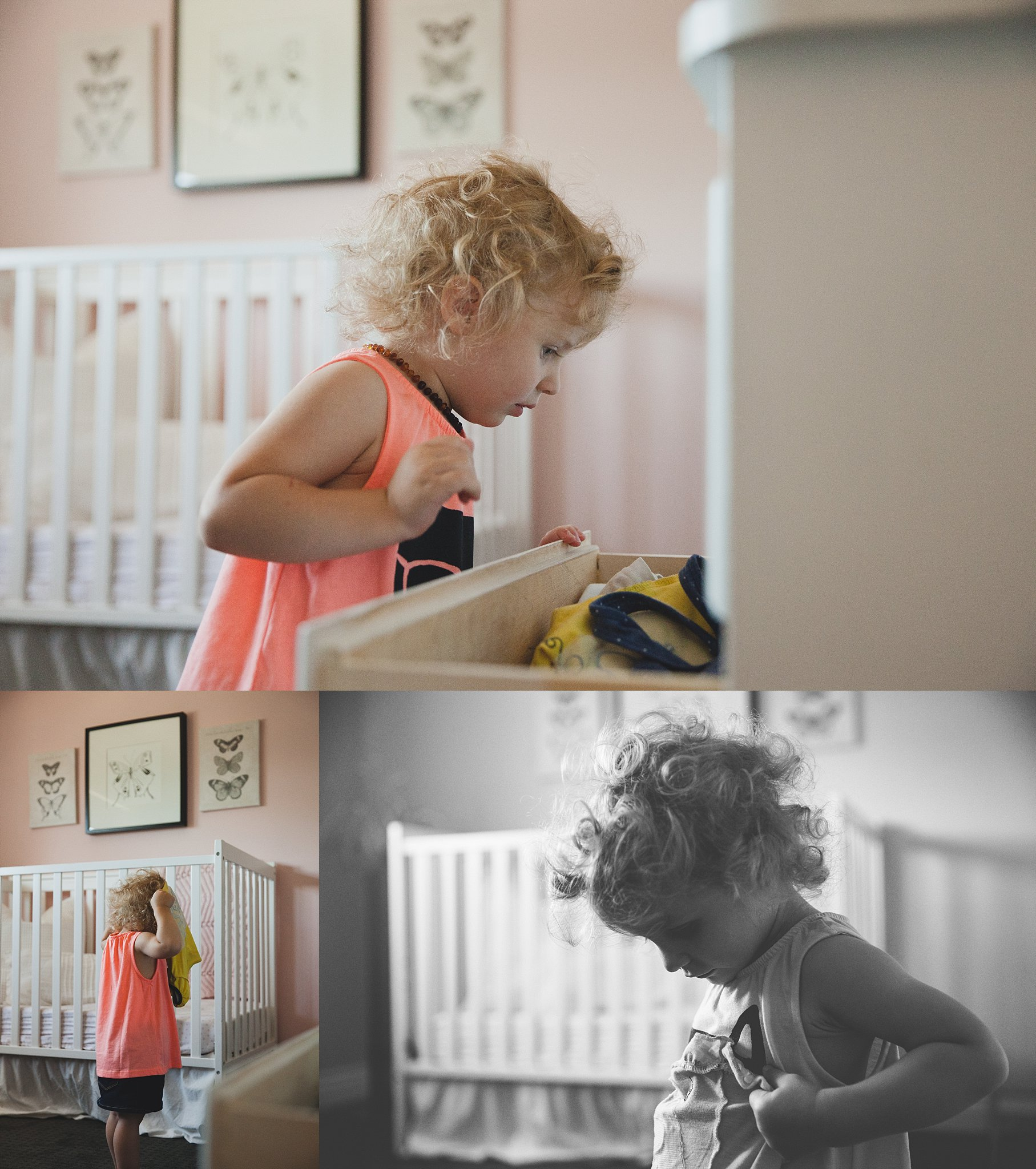 Toddler playing dress-up in her nursery. Photographed by Rachael Little Photography in Woodstock, Ontario.
